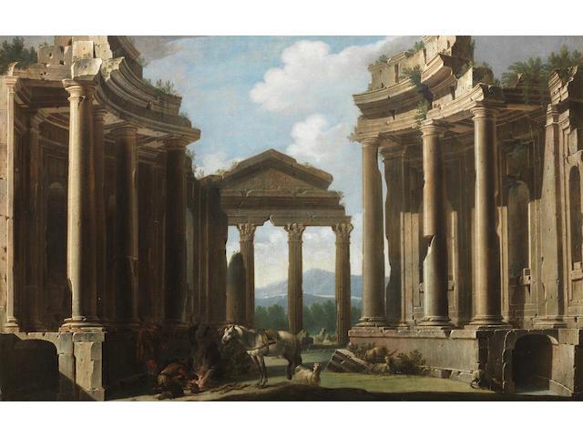 Niccolò Codazzi (Naples 1642-1693 Genoa) An architectural capriccio with figures and a horse beside a campfire