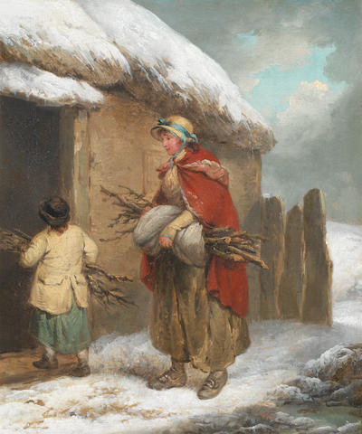 George Morland (London 1763-1804) Figures collecting firewood in a winter landscape