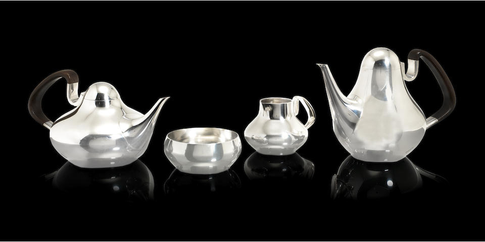 HENNING KOPPEL FOR GEORG JENSEN: A Danish four-piece silver tea and coffee service design 1017, with London import marks for 1964 / 65  (4)