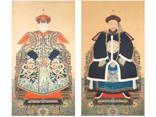 A pair of rare and large portraits of a nobleman and a royal lady  Late Qing Dynasty  (2)