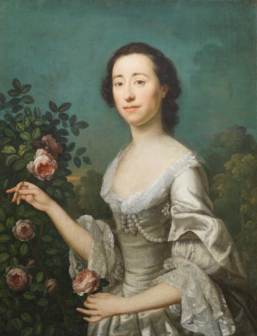 Circle of Allan Ramsay (Edinburgh 1713-1784 Dover) Portrait of a lady, half-length, in a white dress, holding a rose