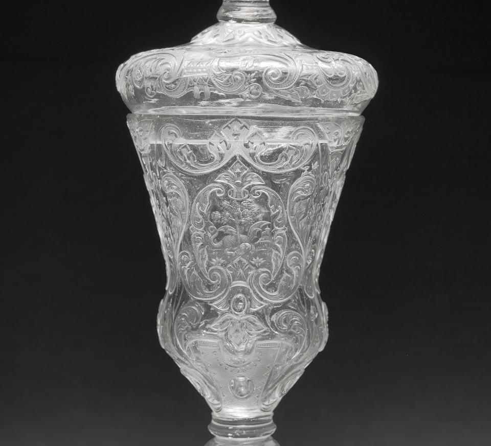 An important Silesian Hochschnitt goblet and cover by Friedrich Winter, Hermsdorf, circa 1700