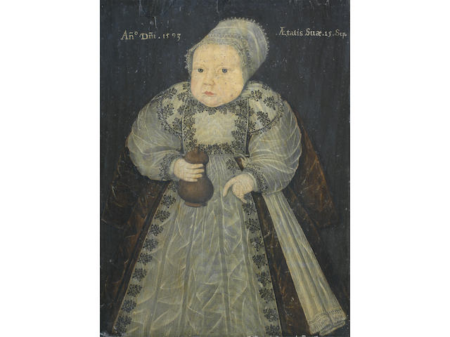 English School, 16th Century Portrait of a child, full-length, holding a wooden feeding bottle