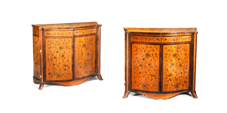 A pair of 19th century satinwood, rosewood, stained sycamore and fruitwood marquetry serpentine commodes  (2)