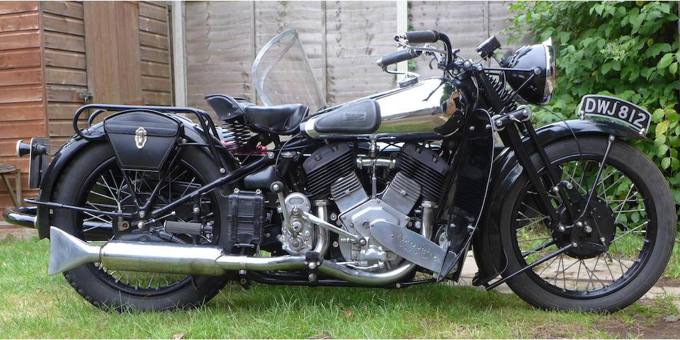 1937 Brough Superior 1,096cc 11-50hp Motorcycle Combination Frame no. M8/1854 Engine no. LTZ/F 57029/SN