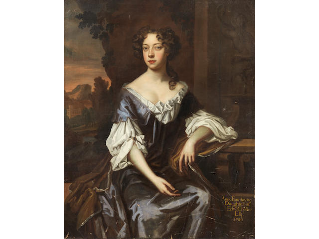 Circle of Sir Peter Lely (Soest 1618-1680 London) Portrait of a lady, traditionally identified as Anne Fountayne, three-quarter-length, in a blue dress, seated