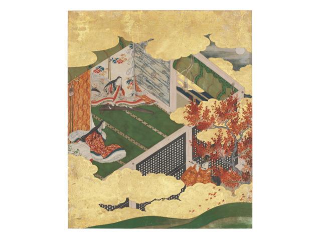 Artist Unknown Illustration to Genji Monogatari (The Tale of Genji), Chapter 2: Hahakigi (The Broom Tree) Momoyama period (1573-1615), early 17th century