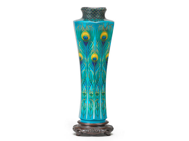 A hexagonal, slender waisted form cloisonné enamel vase  By Hayashi Tanigoro, late Meiji (1868-1912) or Taisho (1912-1926) era, early 20th century (2)