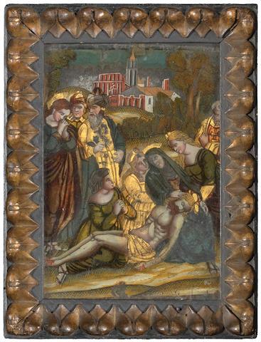 A facon de Venise reverse-painted glass picture, circa 1560-70