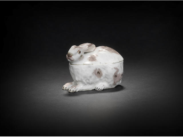 A fine and rare Chelsea leveret tureen and cover, circa 1755