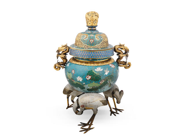 A magnificent and rare cloisonné enamel and gilt-bronze tripod 'cranes' incense burner and cover Qianlong (2)