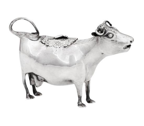 An 18th century silver cow creamer by John Schuppe, London 1763