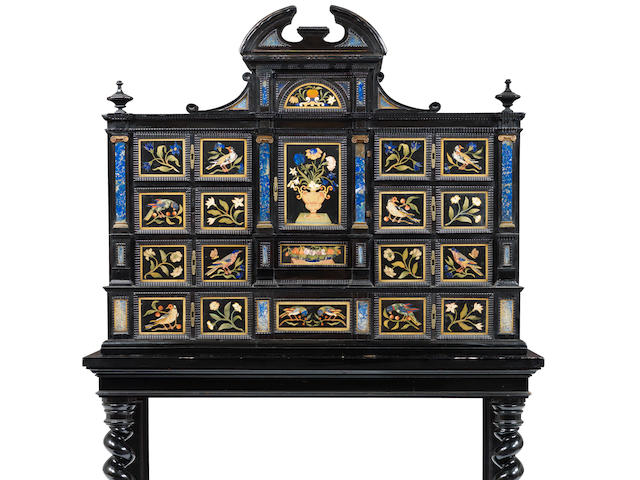 A Florentine ebony, ebonised, pietra dura and specimen marble cabinet on stand