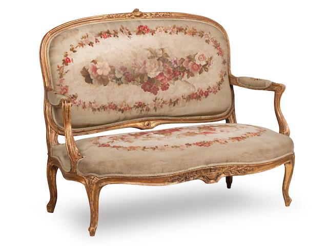 A seven piece 19th century Louis XV style salon suite