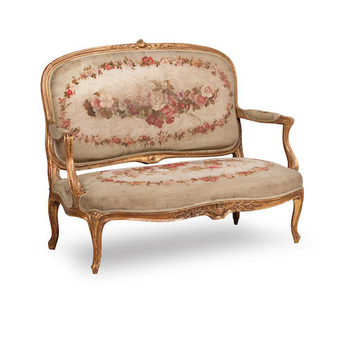 A seven piece 19th century Louis XV style salon suite