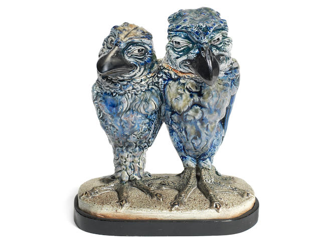 a fine martin brothers glazed stoneware double bird group INCISED 'R.W MARTIN & BROS LONDON & SOUTHALL', DATED 3-1914