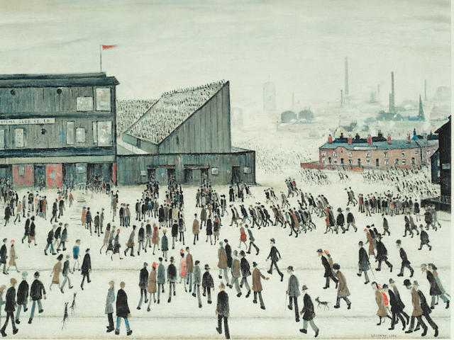 Laurence Stephen Lowry R.A. (British, 1887-1976) Going To The Match Offset lithograph printed in colours, 1972, on wove, signed in pencil, from the edition of 300, published by the Medici Society, London, with the Fine Art Trade Guild blindstamp, with full margins, 528 x 685mm (20 3/4 x 27in)(I)