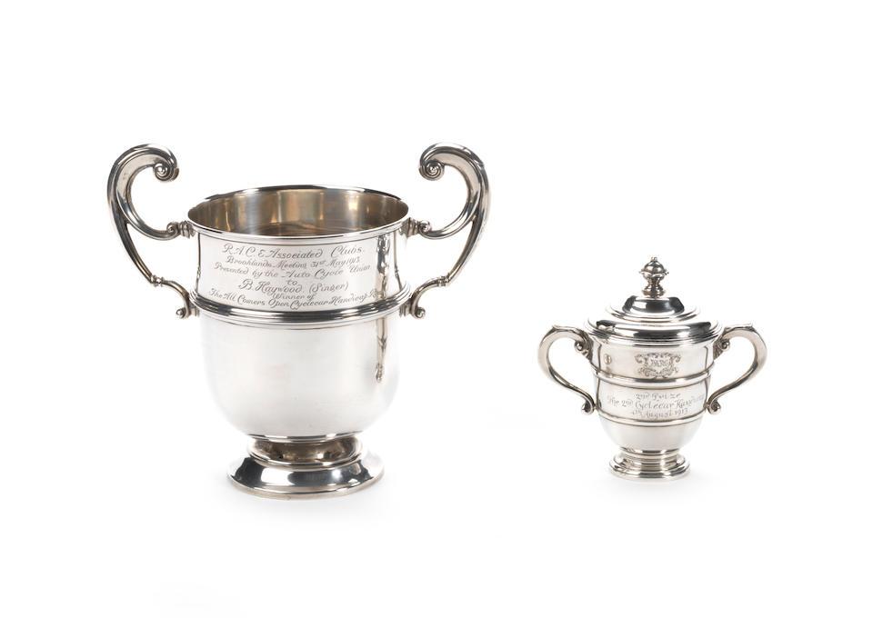 A rare BARC Brooklands Cyclecar race second place silver cup, 1913,