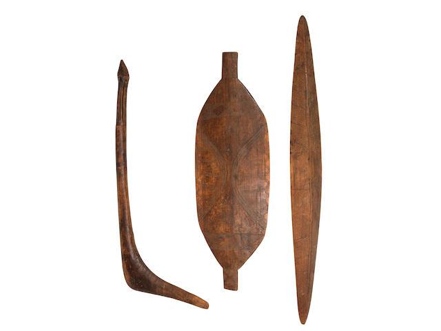 Three Australian Aboriginal artefacts, mid/late 19th century