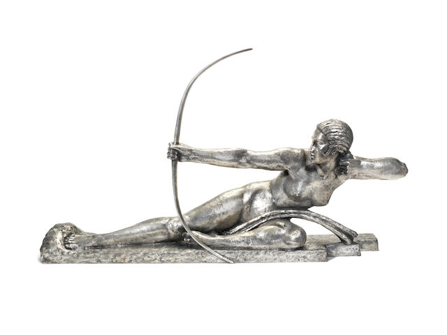 Marcel Bouraine 'Penthesilea, Queen of the Amazons' a Rare Art Deco Silvered Bronze Study, circa 1925