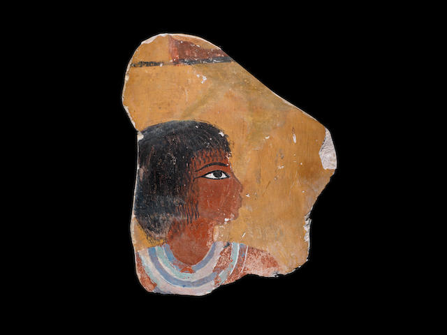 An Egyptian limestone wall-painting fragment from the tomb of Ken-Amun