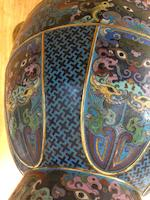 A large Chinese 'dragon'-handle cloisonné vase,  Qianlong four-character mark, Republic period