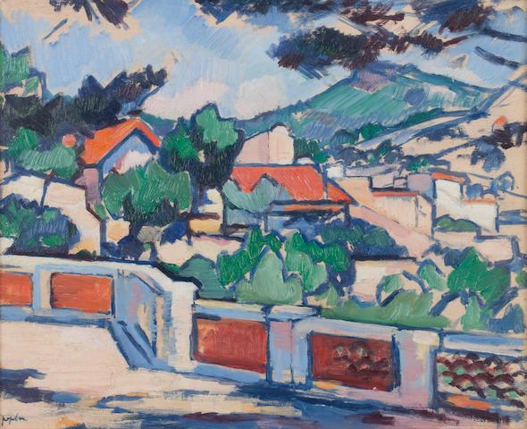 Samuel John Peploe RSA (British, 1871-1935) The Terrace, Cassis  32 x 40 cm. (12 5/8 x 15 3/4 in.)