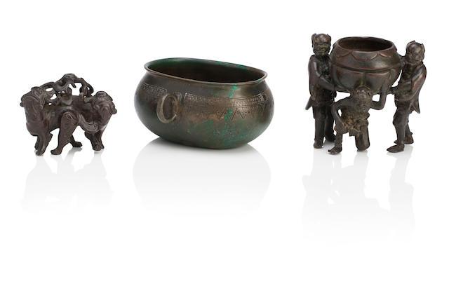 Three bronze incense burners Ming