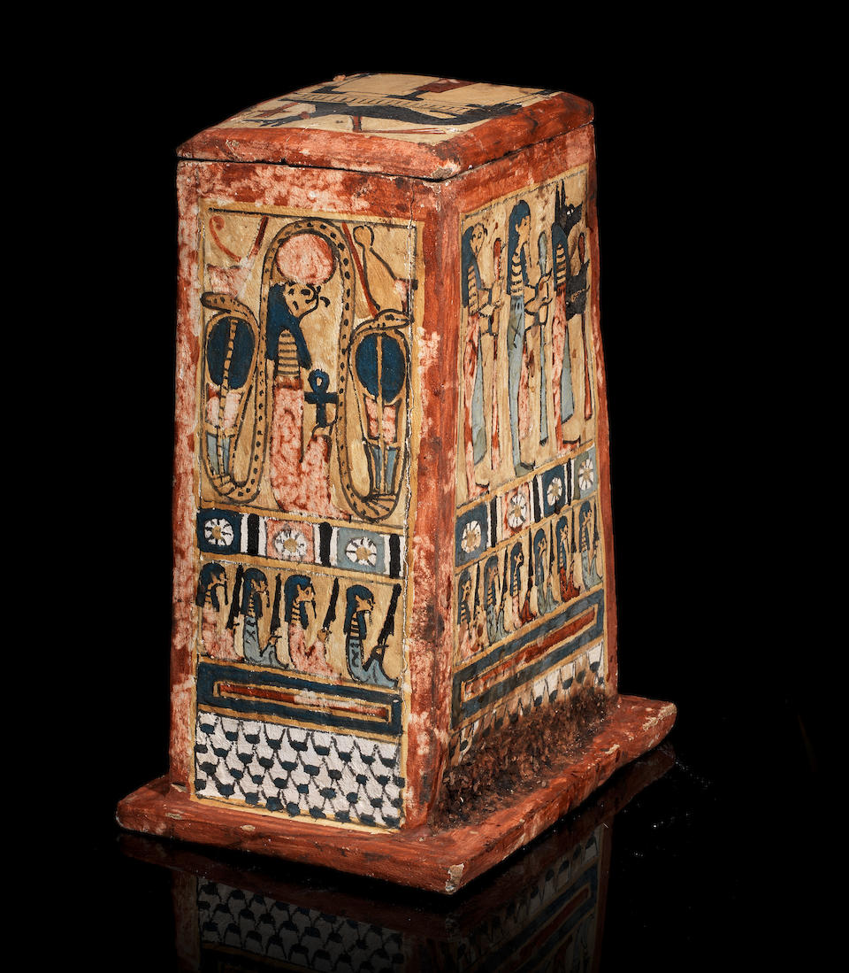 Bonhams An Egyptian Polychrome Painted Wood Canopic Jar Box