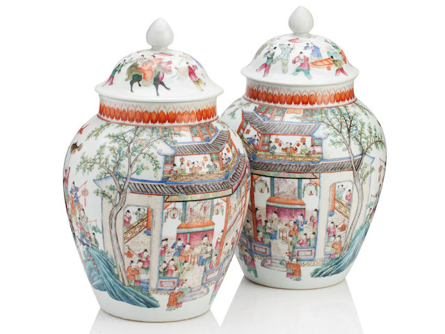A pair of famille rose vases and covers Republic