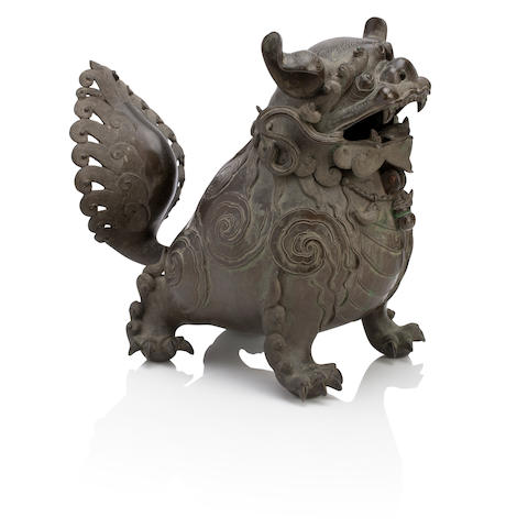 A large bronze mythical beast incense burner Late 19th century