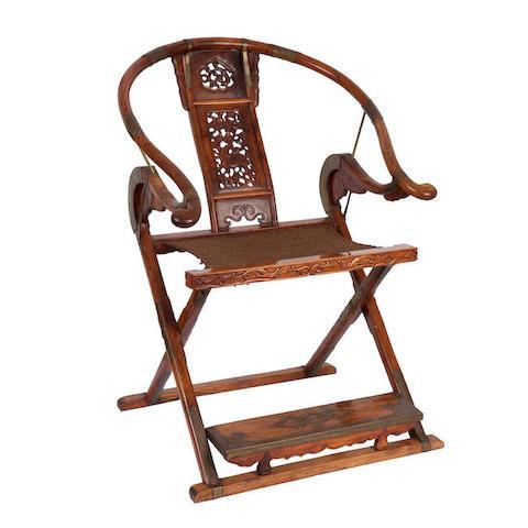 A huanghuali horseshoe-back armchair, jiaoyi 19th century