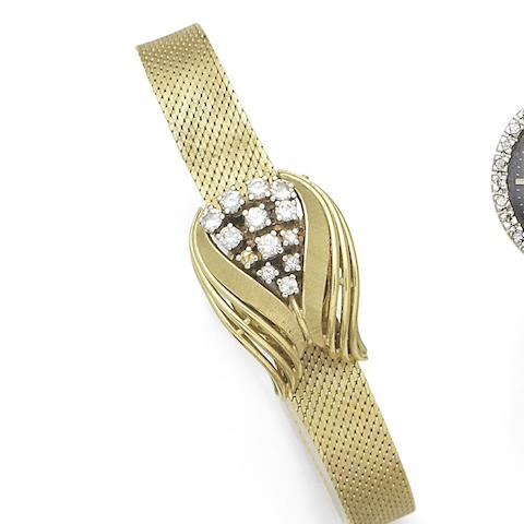 Ebel. A lady's 18K gold and diamond set manual wind bracelet watch with concealed dial Case No.101587, Circa 1960