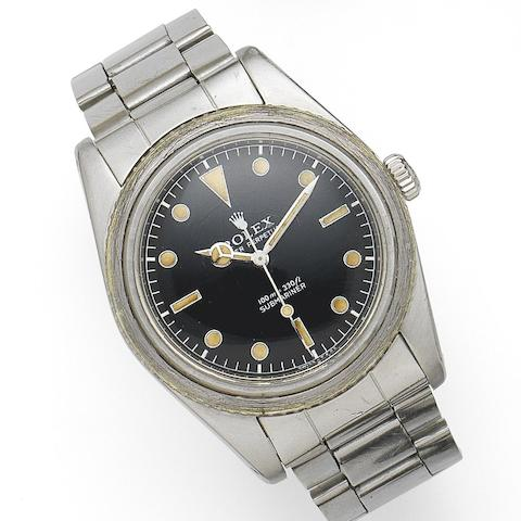 Rolex. A stainless steel automatic bracelet watch Submariner, Ref:6536/1, Serial No.306***, Movement No.N763***, Circa 1957