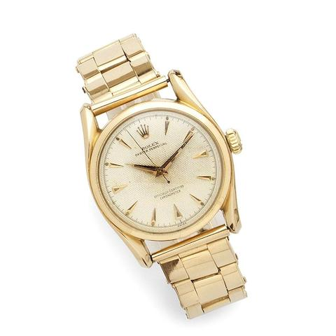 Rolex. An 18K rose gold automatic bracelet watch Bombay, Ref:6090, Serial No.855***, Movement No.359**, Circa 1963