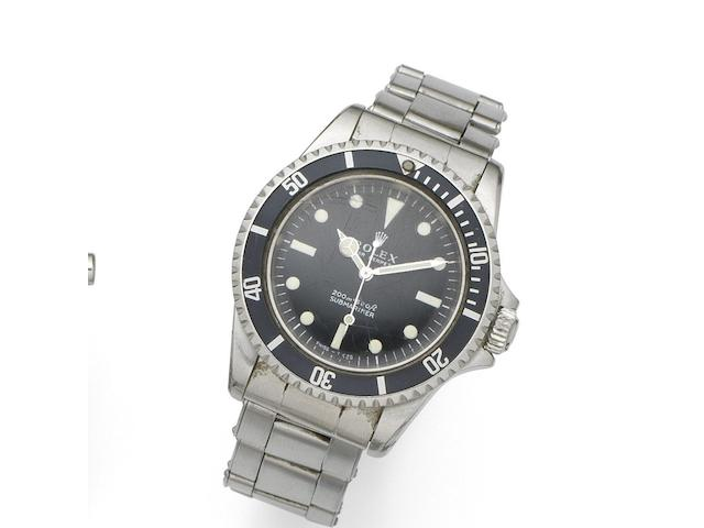 Rolex. A stainless steel automatic bracelet watch Submariner, Ref:5513, Serial No.165****, Circa 1967