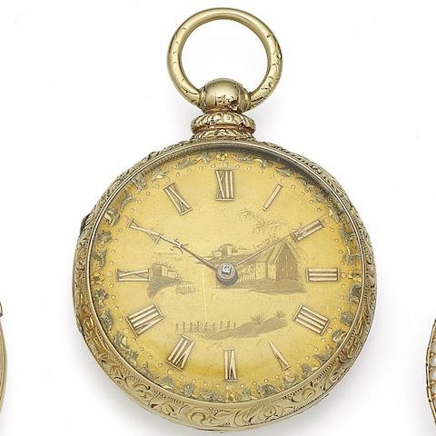 John Harrison, Liverpool. An 18K gold key wind open face pocket watch Case & Movement No.11403, Circa 1840