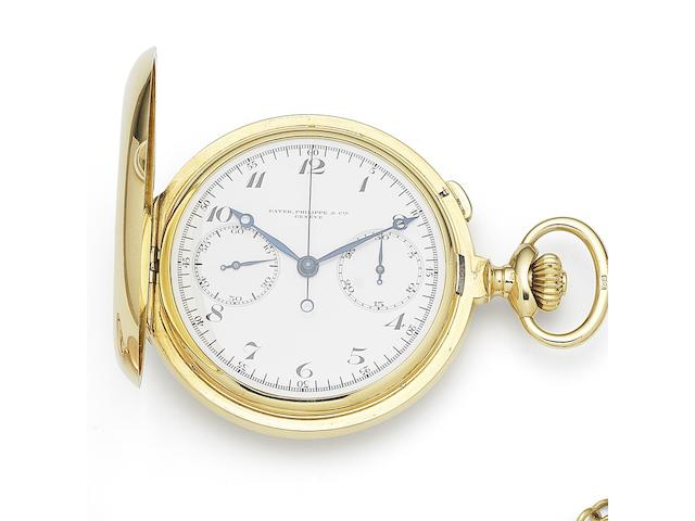 Patek Philippe. An 18K gold keyless wind chronograph full hunter pocket watch Case & Cuvette No.405.919, Cuvette & Movement No.174.280, Manufactured 1916, Sold 31st January 1931