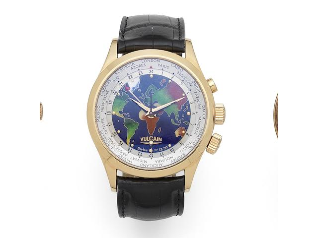 Vulcain. A Limited Edition 18K rose gold manual wind alarm wristwatch with World Time and cloisonne enamel dial Cloisonne The World, Ref:100508.127, No.13/30, Circa 2010