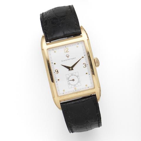 Girard-Perregaux. An 18K rose gold manual wind rectangular wristwatch Anniversary 1791-1991, Ref:4961, Sold December 1991
