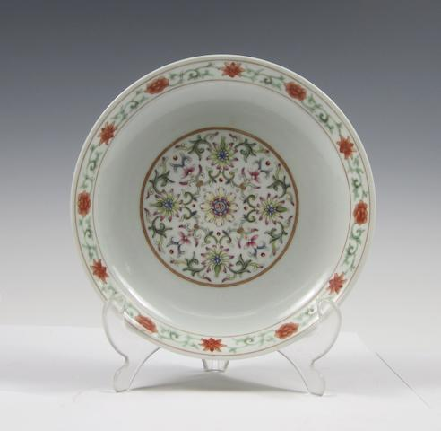 A famille rose yellow-ground saucer dish Bearing Jiaqing seal mark but later