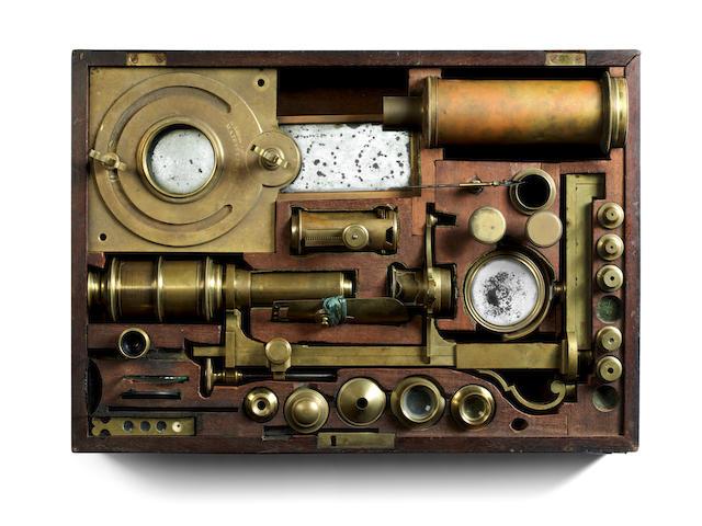 An important George Adams Senior microscope compendium,  English, third quarter of the 18th century,