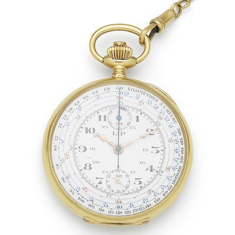 Lip. An 18K gold keyless wind open face chronograph pocket watch Case No.11569, Circa 1900