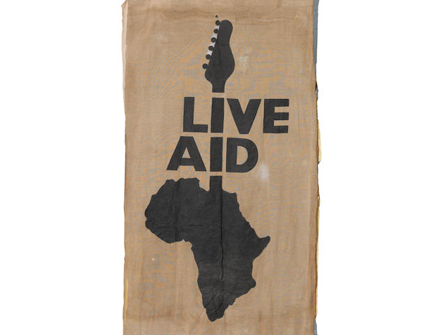 Live Aid: A large stage used backdrop for 'Live Aid' at Wembley Stadium, London, 13th July 1985, ((2))