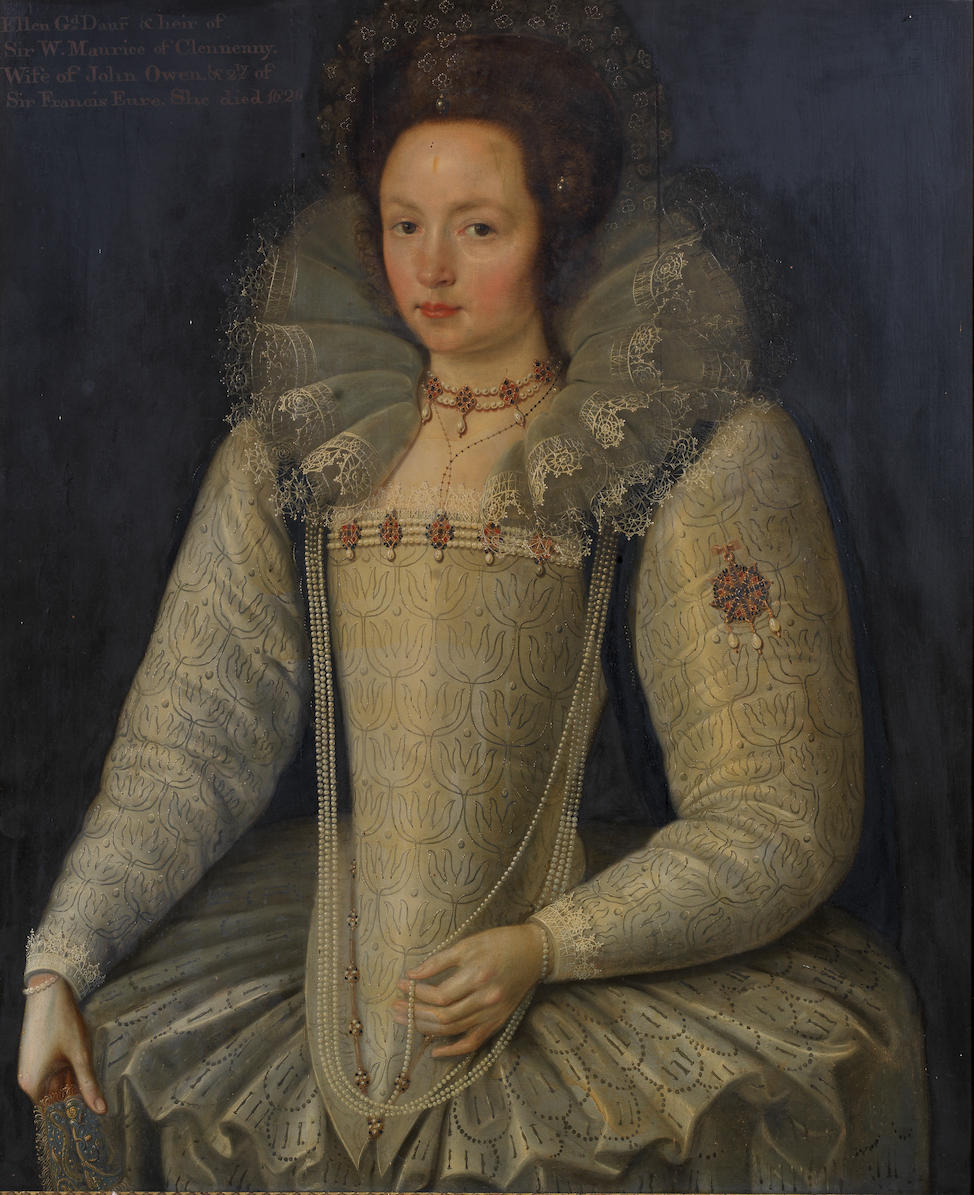 Marcus Gheeraerts the Younger (Bruges 1561-1635 London) Portrait of  Ellen Maurice, three-quarter-length, in a white lace ruff and white dress embellished with pearls