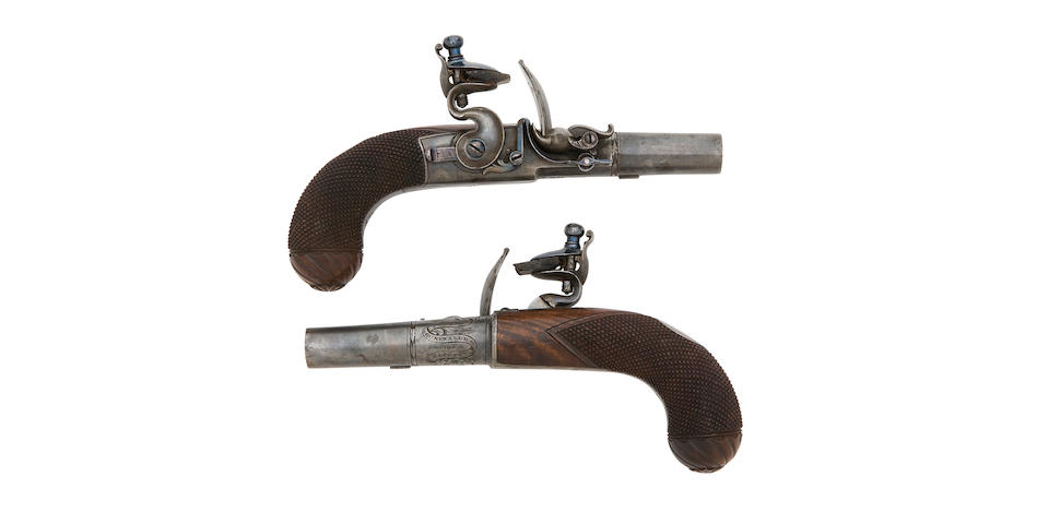 A Fine And Rare Pair Of 50-Bore Flintlock Box-Lock Pocket Pistols (2)