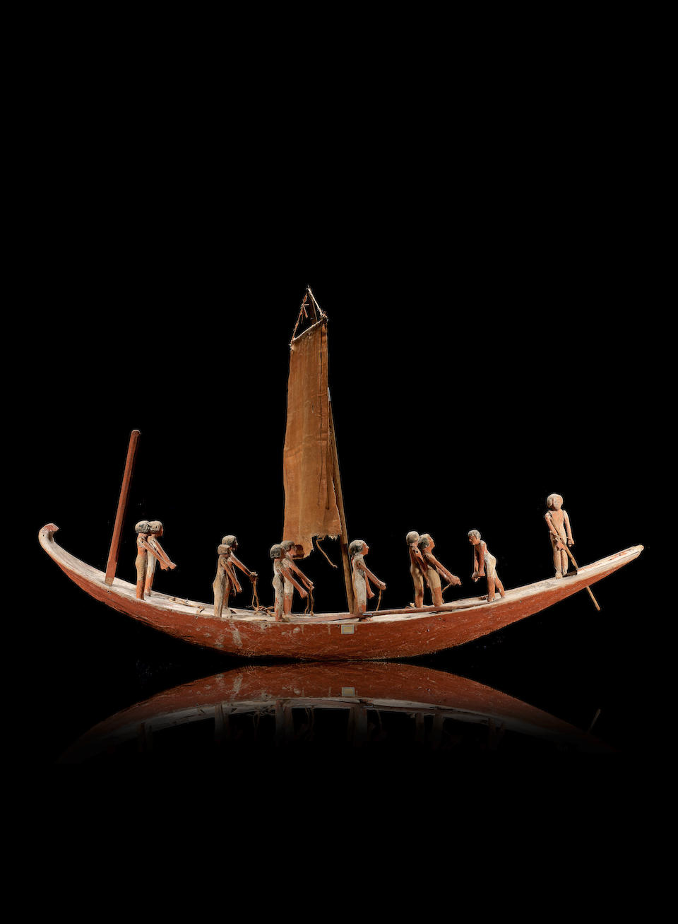 Bonhams : A large Egyptian gesso-painted wood model boat