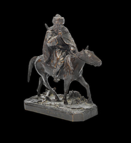 A bronze group of a Circassian on horsebackcast by Chopin after the model by Evgenii Lanceray (1848-1886), dated 1870