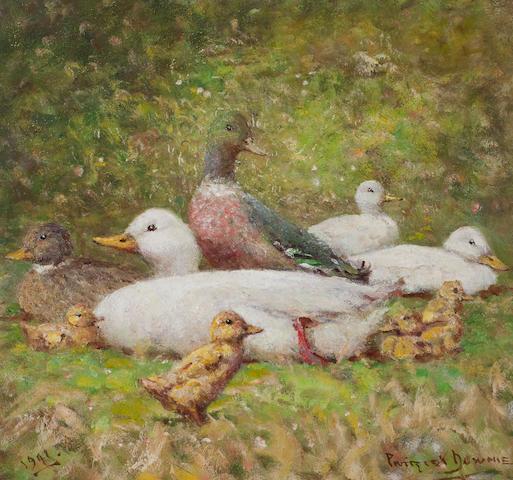 Patrick Downie RSW (British, 1854-1945) Ducks, A Happy Family 37 x 39 cm. (14 9/16 x 15 3/8 in.)