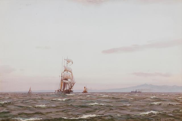 Patrick Downie RSW (British, 1854-1945) A Grey Morning off Arran  36 x 53 cm. (14 3/16 x 20 7/8 in.)